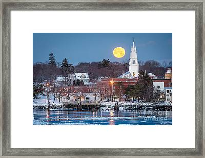 Bath Maine Moon Framed Print by Benjamin Williamson