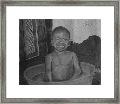 Bath-time Tears Framed Print