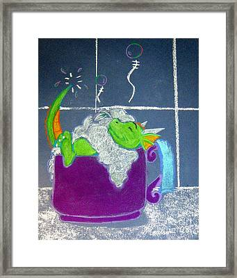 Framed Print featuring the pastel Bath Time by Wendy Coulson
