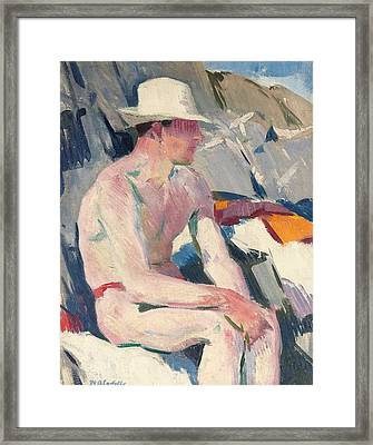Bather In A White Hat Framed Print