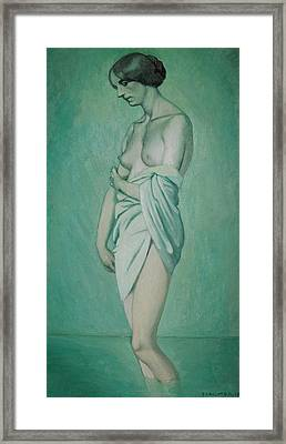 Bather In Profile Effect Of Green And Pink Framed Print by Felix Edouard Vallotton