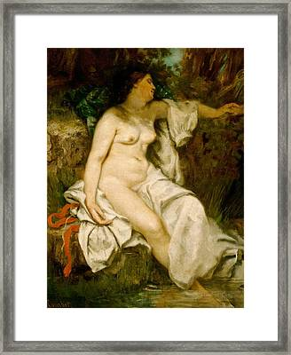 Bather Sleeping By A Brook Framed Print by Gustave Courbet