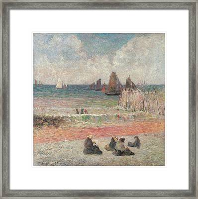Bathers At Dieppe Framed Print by Paul Gauguin
