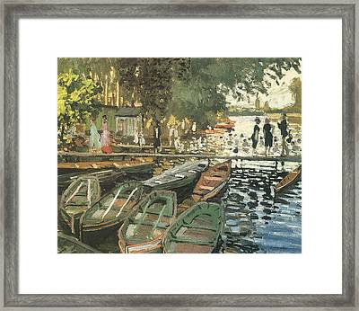 Bathers At La Crenovillere Framed Print by Claude Monet