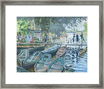Bathers At La Grenouillere By Claude Monet Framed Print by Roberto Morgenthaler