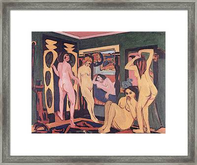 Bathers In A Room Framed Print by Ernst Ludwig Kirchner