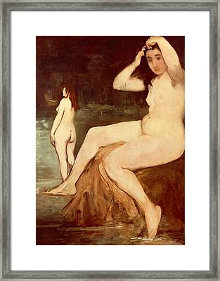Bathers On Seine Framed Print by Edouard Manet