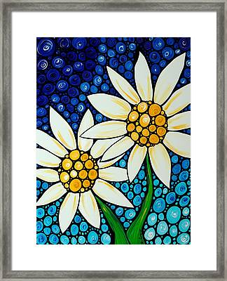 Bathing Beauties - Daisy Art By Sharon Cummings Framed Print by Sharon Cummings