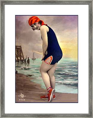 Bathing Beauty In Orange And Navy Bathing Suit Framed Print