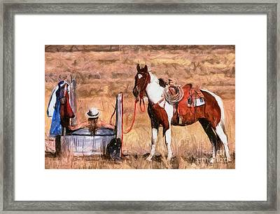 Bathing Cowgirl Framed Print by Murphy Elliott