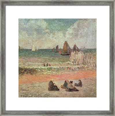 Bathing Dieppe Framed Print by Paul Gauguin