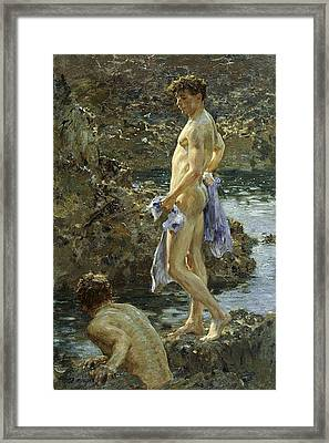 Bathing Group Of 1914 Framed Print by Henry Scott Tuke