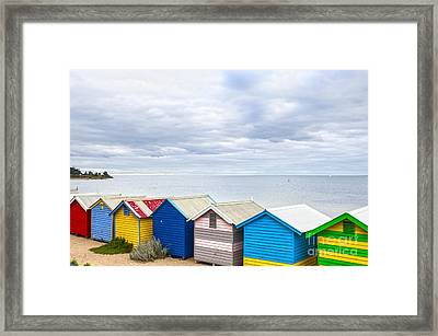 Bathing Huts Brighton Beach Melbourne Australia Framed Print by Colin and Linda McKie