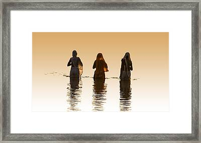 Bathing In The Holy River 2 Framed Print by Dominique Amendola