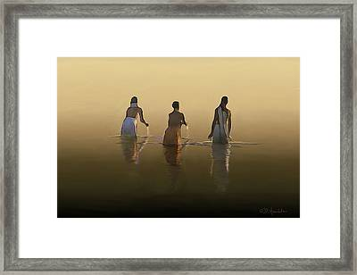 Bathing In The Holy River By Dominique Amendola Framed Print by Dominique Amendola