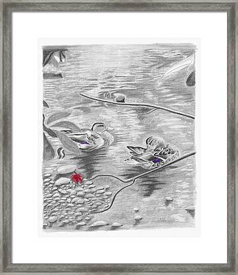 Bathing In The River Framed Print
