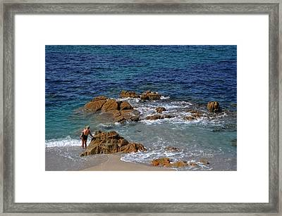 Bathing In The Sea - La Coruna Framed Print