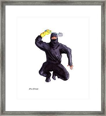 Bathroom Ninja Framed Print by Del Gaizo