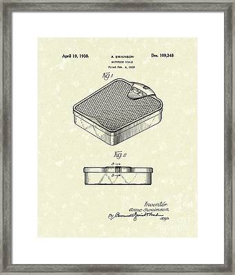 Bathroom Scale 1938 Patent Art Framed Print by Prior Art Design