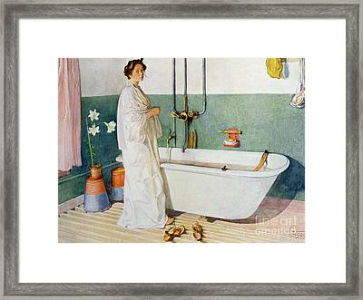 Bathroom Scene Lisbeth Framed Print by Carl Larsson