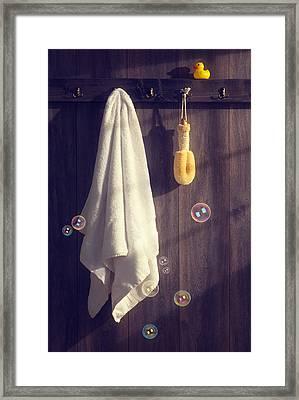 Bathroom Towel Framed Print by Amanda Elwell