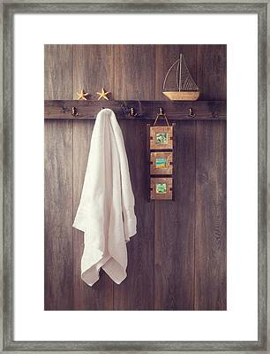 Bathroom Wall Framed Print by Amanda Elwell