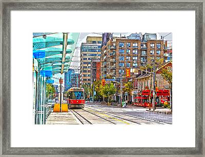 Bathurst Street Car Coming North To Queen Street Framed Print by Nina Silver