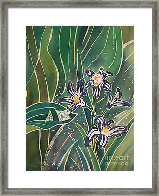 Batik Detail - Pushkinia Framed Print by Anna Lisa Yoder