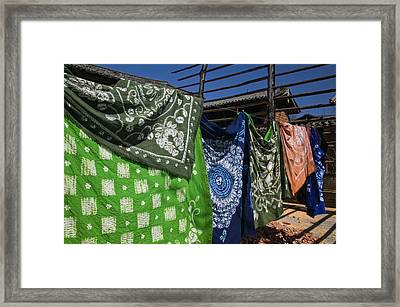 Batik Fabric Souvenirs At A Market Framed Print by Panoramic Images