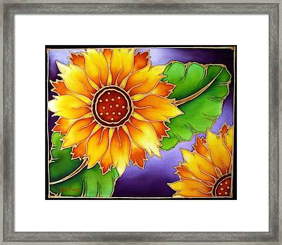 Batik Sunflower Framed Print by Kat Poon
