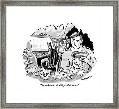 Batman And Superman In Batcave Looking At Small Framed Print by Benjamin Schwartz