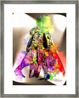 Batman Grunge Framed Print by Daniel Janda