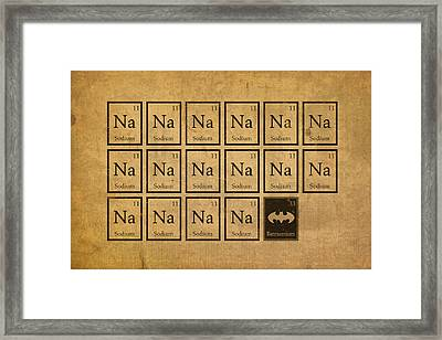 Batmantium Periodic Table Element Chart Nerd Chemistry Student Superhero Humor Framed Print
