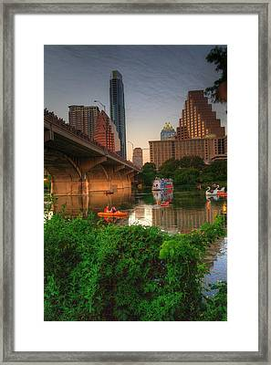 Bats Going Out For Dinner In Austin Framed Print by Dave Files