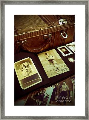 Battered Suitcase Of Antique Photographs Framed Print by Amy Cicconi