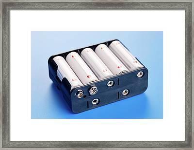 Batteries In Battery Charger Framed Print by Wladimir Bulgar