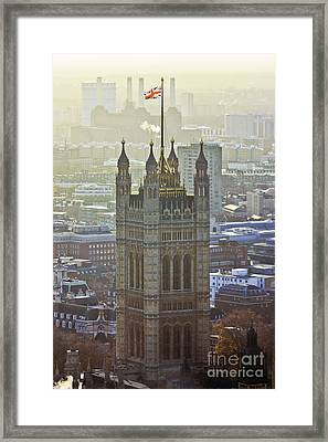 Battersea Power Station And Victoria Tower London Framed Print