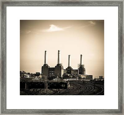 Battersea Power Station With Train Tracks Framed Print