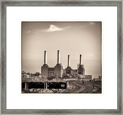 Battersea Power Station With Train Tracks With Border Framed Print by Lenny Carter