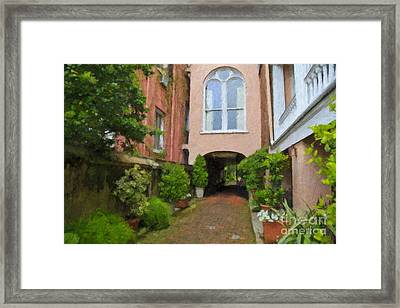 Battery Carriage House Inn Alley Framed Print