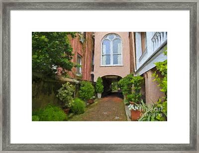 Battery Carriage House Inn Alley Framed Print