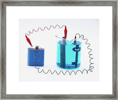Battery Connected To A Copper Pipe Framed Print by Dorling Kindersley/uig