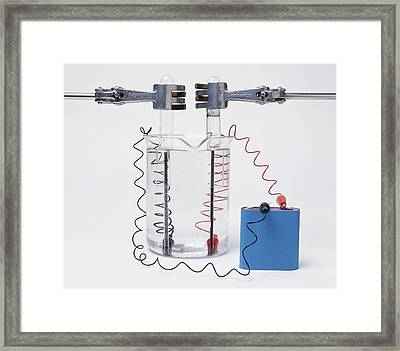 Battery Connected To Two Electrodes Framed Print by Dorling Kindersley/uig
