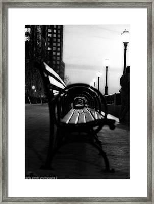 Battery Park Bench Framed Print by Isaac Silman