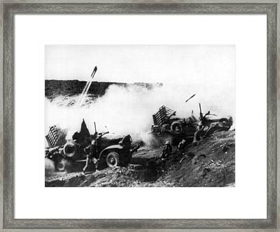 Battle At Iwo Jima Framed Print by Underwood Archives
