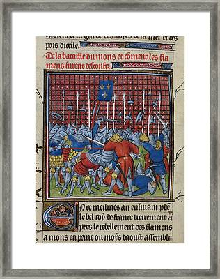 Battle At Mons Framed Print by British Library