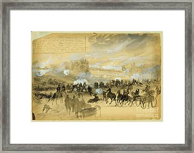 Battle At White Oak Swamp Bridge Framed Print by Celestial Images