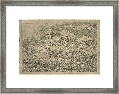 Battle Between Cavalry And Infantry, Print Maker Gerardus Framed Print by Gerardus Emaus De Micault