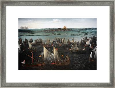 Battle Between Dutch And Spanish Ships On The Haarlemmermeer, 1629, By Hendrik Cornelisz Vroom Framed Print