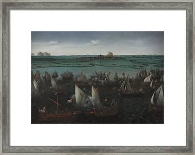 Battle Between Dutch And Spanish Ships Framed Print
